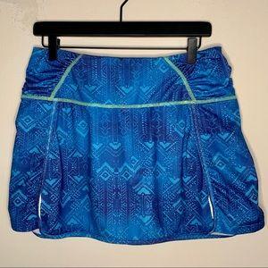 Athleta Aztec Geometric Blue Tennis Fitness Skort
